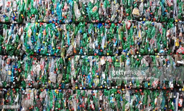 full frame shot of colorful plastic bottles - garbage stock pictures, royalty-free photos & images
