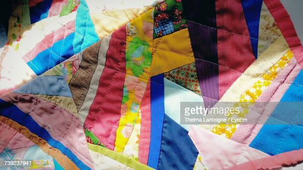 full frame shot of colorful quilt - キルト ストックフォトと画像