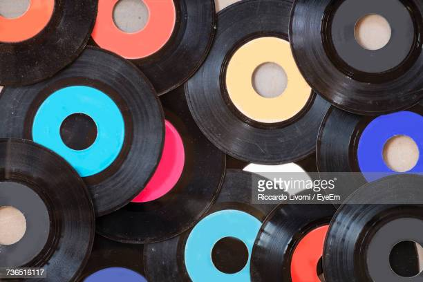 Full Frame Shot Of Colorful Records
