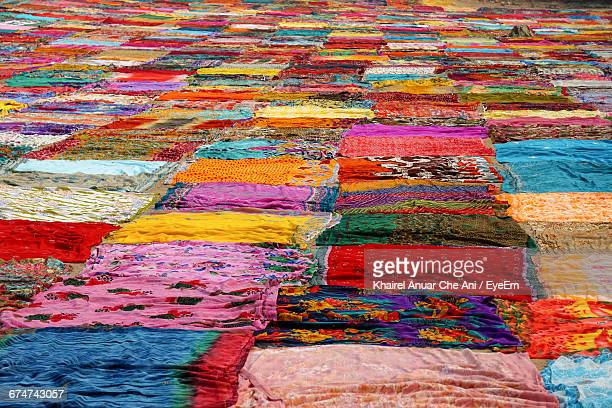 Full Frame Shot Of Colorful Saris Drying At Dhobi Ghat