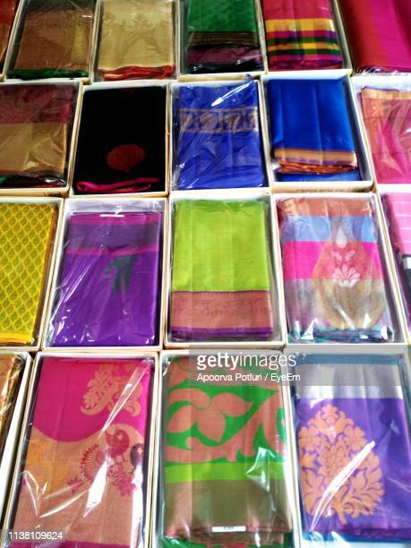 full frame shot of colorful saris for sale in store - sari stock pictures, royalty-free photos & images