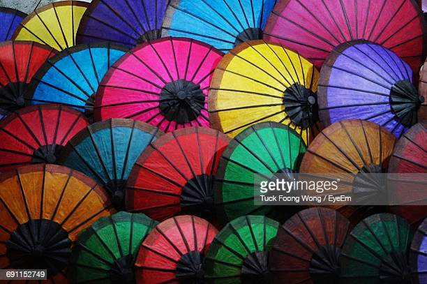 Full Frame Shot Of Colorful Small Paper Umbrellas