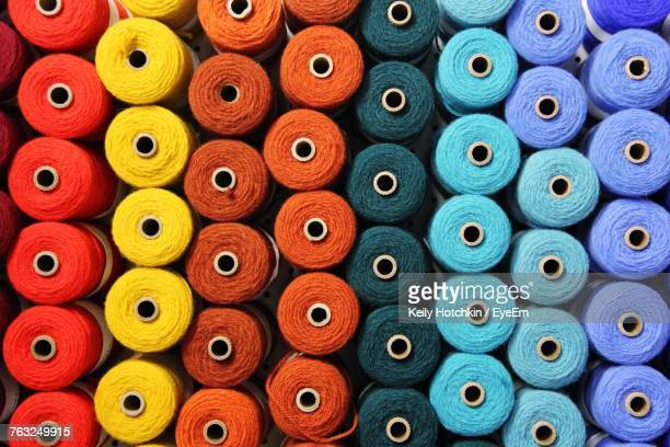 full frame shot of colorful spool for sale at market - thread stock pictures, royalty-free photos & images