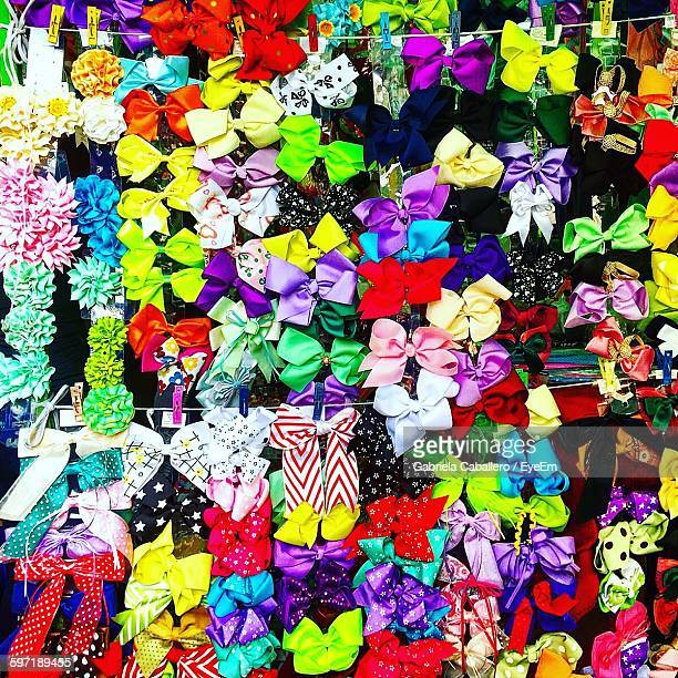 Full Frame Shot Of Colorful Tied Bows