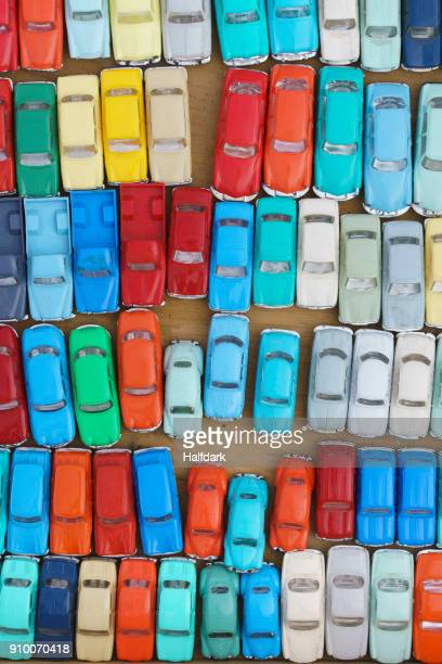 Full frame shot of colorful toy cars at market stall