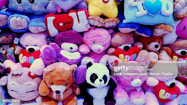 full frame shot of colorful toys for sale - stuffed toy stock pictures, royalty-free photos & images