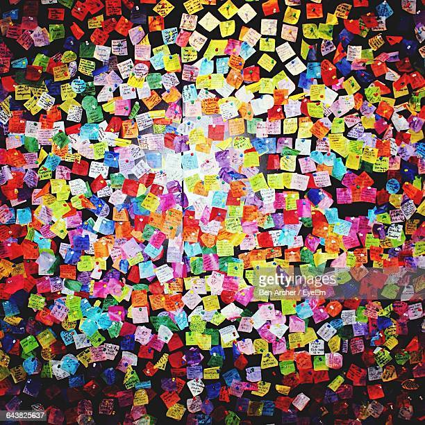 Full Frame Shot Of Colorful Wishing Notes On Wall