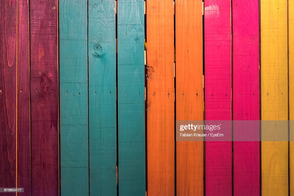Full Frame Shot Of Colorful Wooden Planks : Stock Photo