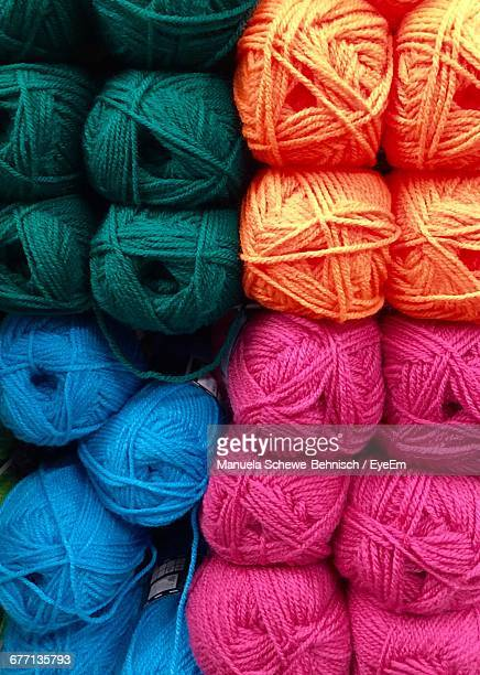 Full Frame Shot Of Colorful Wool Balls For Sale At Store