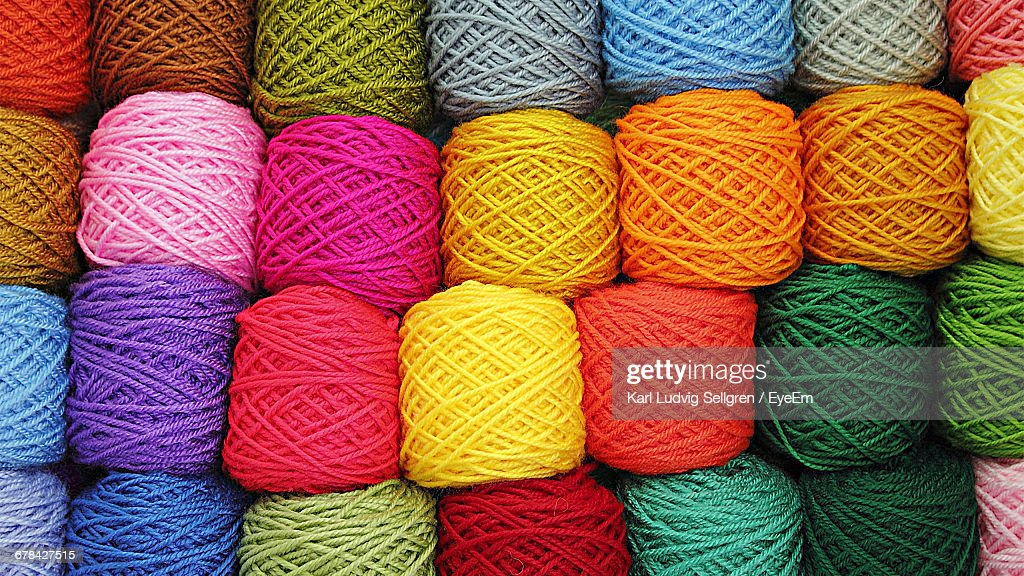 Full Frame Shot Of Colorful Wool Balls For Sale At Store : Stock Photo