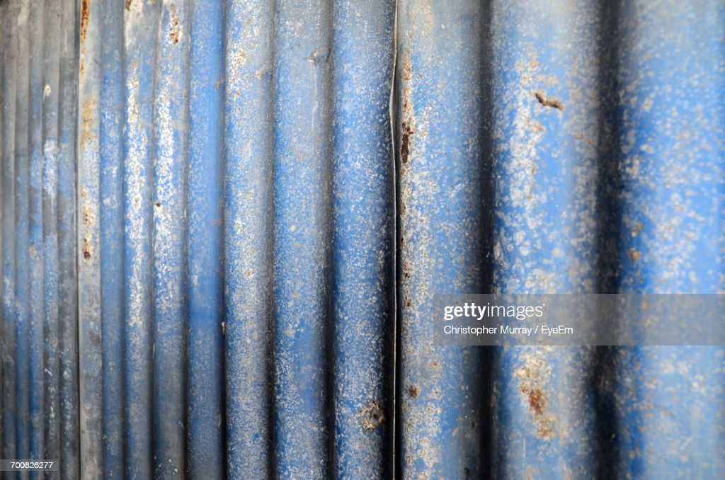 Full Frame Shot Of Corrugated Metal Fence Stock Photo