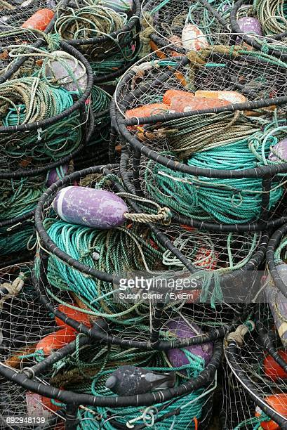 full frame shot of crab pots - crab pot stock photos and pictures