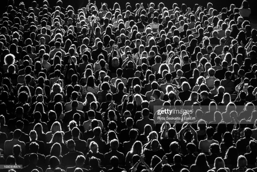 Full Frame Shot Of Crowd At Music Concert : Stock Photo