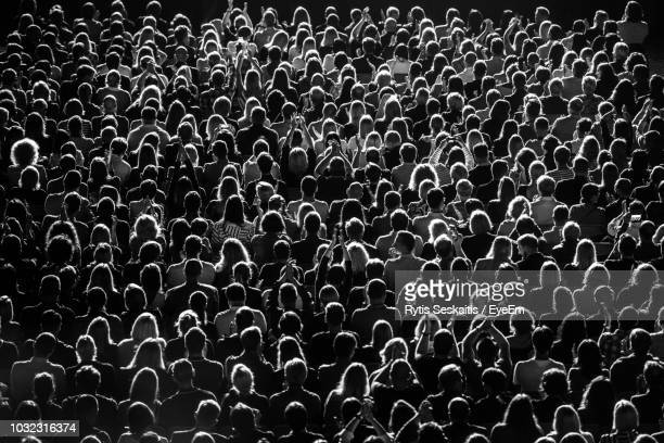 full frame shot of crowd at music concert - black and white stock pictures, royalty-free photos & images