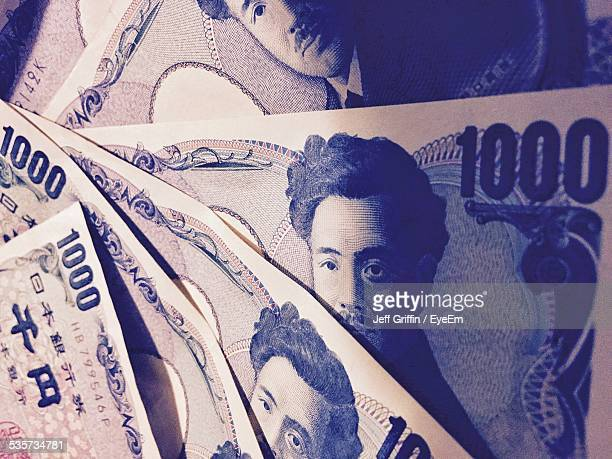 full frame shot of currency - japanese yen note stock photos and pictures