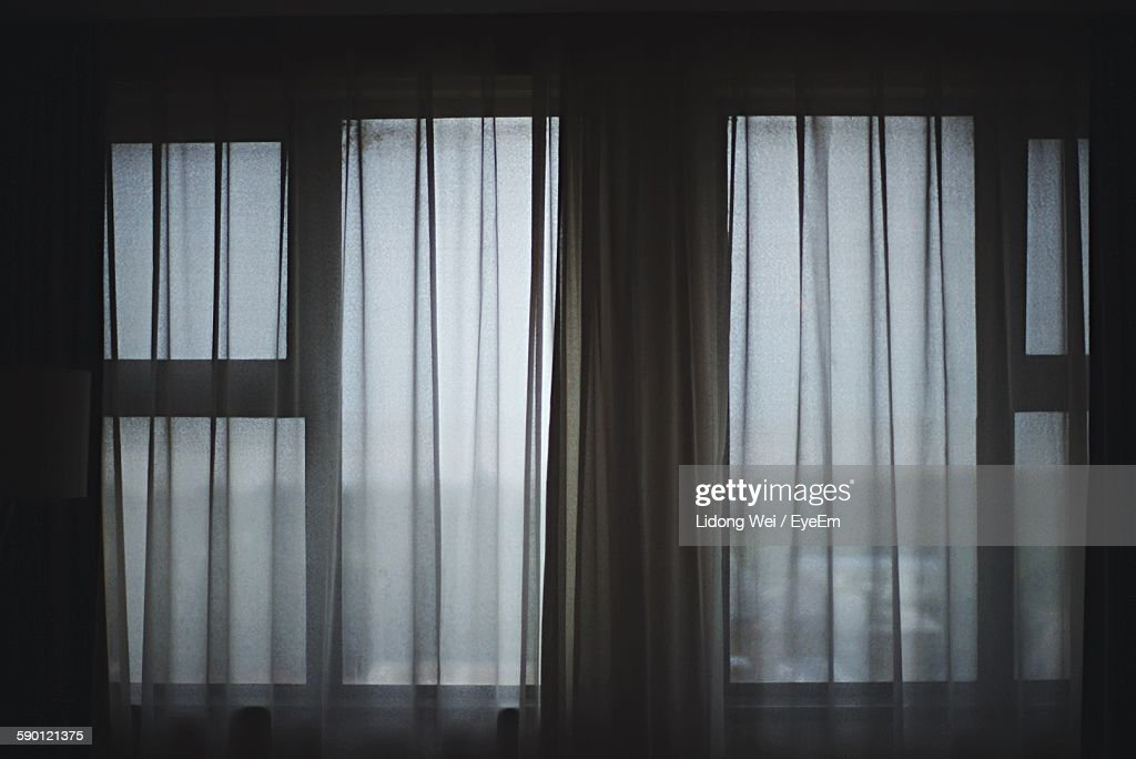Full Frame Shot Of Curtains At Home : Stock Photo