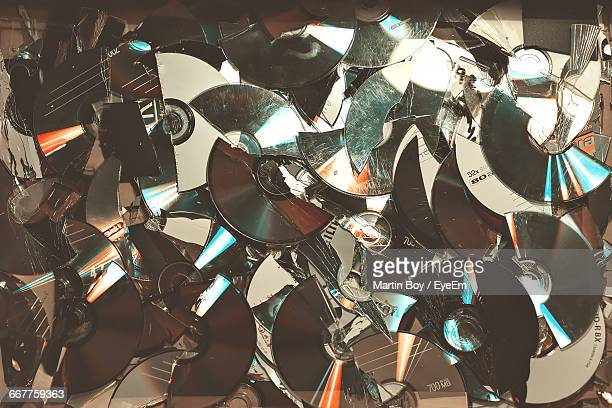 Full Frame Shot Of Damaged Compact Discs
