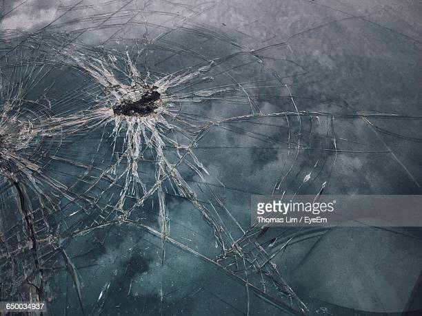Full Frame Shot Of Damaged Windshield