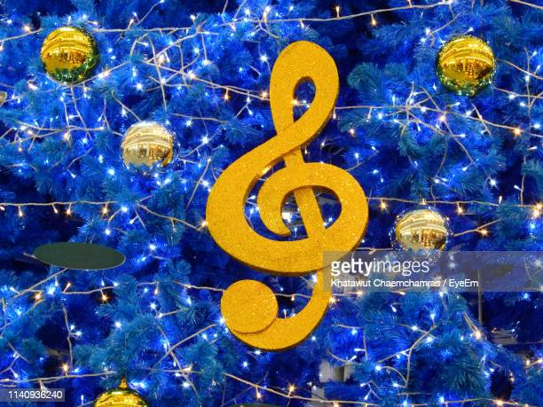 full frame shot of decorated blue christmas tree - christmas music stock pictures, royalty-free photos & images