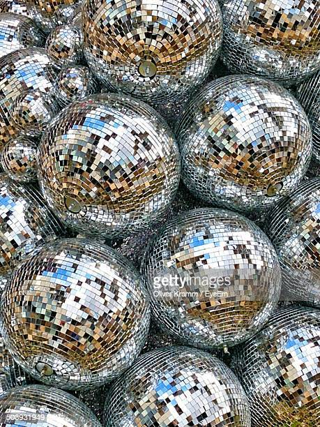 full frame shot of disco balls - disco ball stock photos and pictures