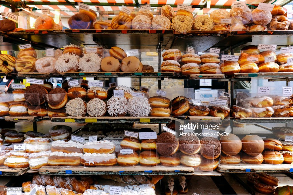 Full Frame Shot Of Donuts For Sale In Store : Stock Photo