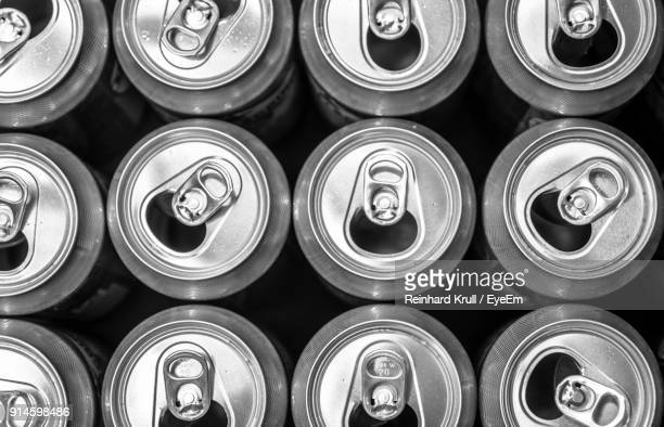 full frame shot of drink cans - tin can stock pictures, royalty-free photos & images