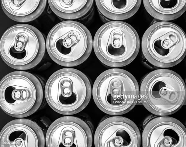 Full Frame Shot Of Drink Cans