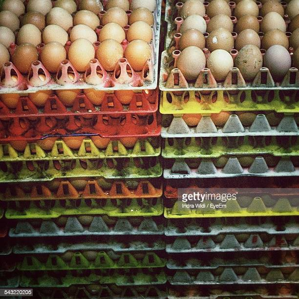 Full Frame Shot Of Egg Stack In Shop