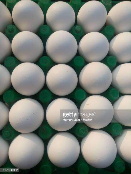 Full Frame Shot Of Eggs In Green Carton