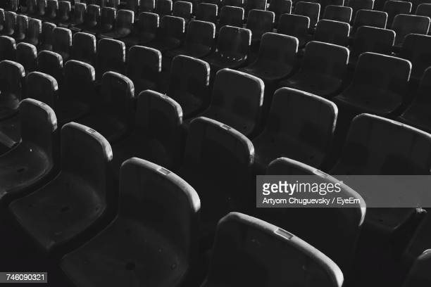 full frame shot of empty bleachers - empty bleachers stock photos and pictures
