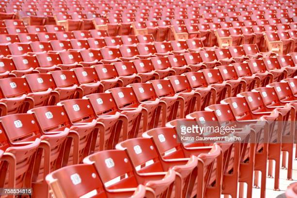 full frame shot of empty chairs in statium - cook county illinois stock photos and pictures