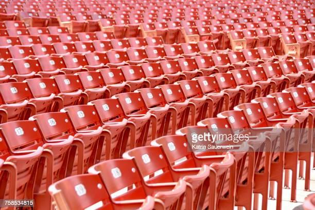 Full Frame Shot Of Empty Chairs In Statium