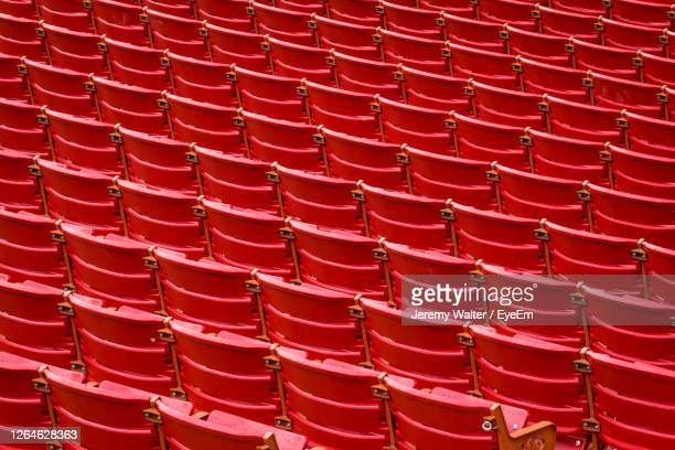 full frame shot of empty red seats - eyeem jeremy walter stock pictures, royalty-free photos & images