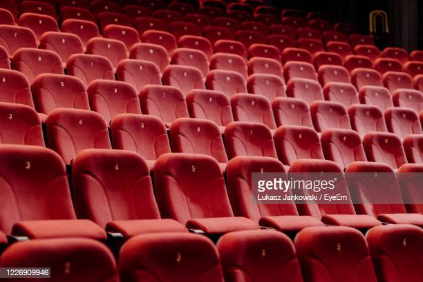full frame shot of empty seats in movie theater - sparse stock pictures, royalty-free photos & images