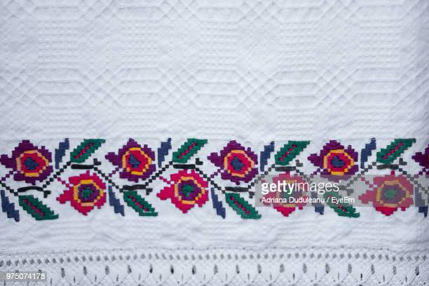 full frame shot of fabric - embroidery stock pictures, royalty-free photos & images