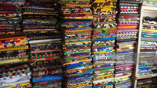 full frame shot of fabrics for sale in market - dakar stock pictures, royalty-free photos & images