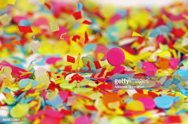 Full Frame Shot of Falling, Colorful Paper Confetti