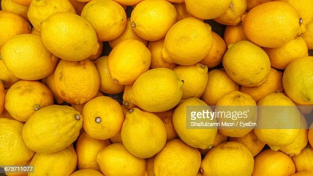 Full Frame Shot Of Fresh Lemons At Market Stall
