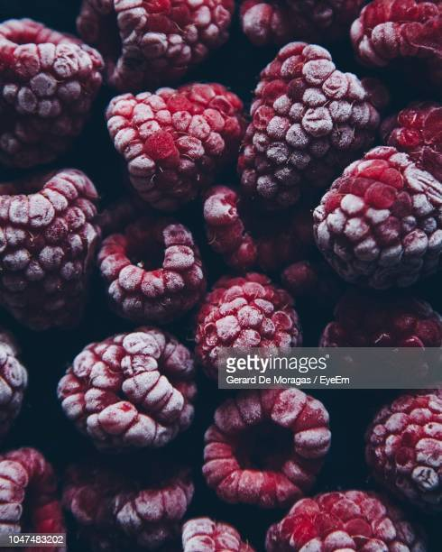 full frame shot of frozen raspberries - frozen food stock pictures, royalty-free photos & images