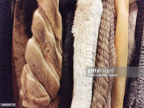 Full Frame Shot Of Fur Coats In Store