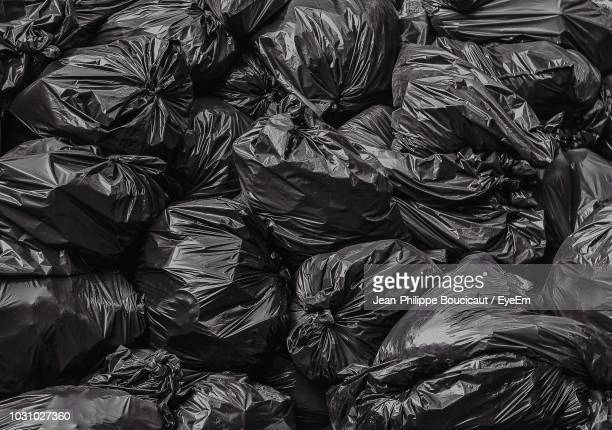 full frame shot of garbage bags - bin bag stock pictures, royalty-free photos & images