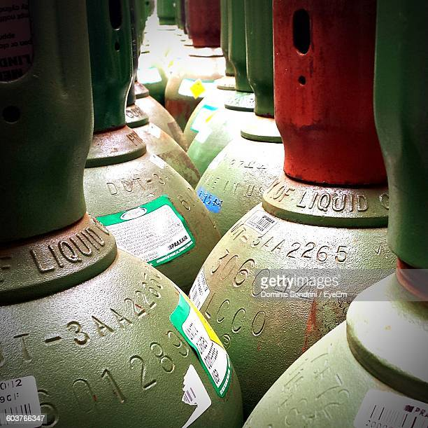 Full Frame Shot Of Gas Cylinders