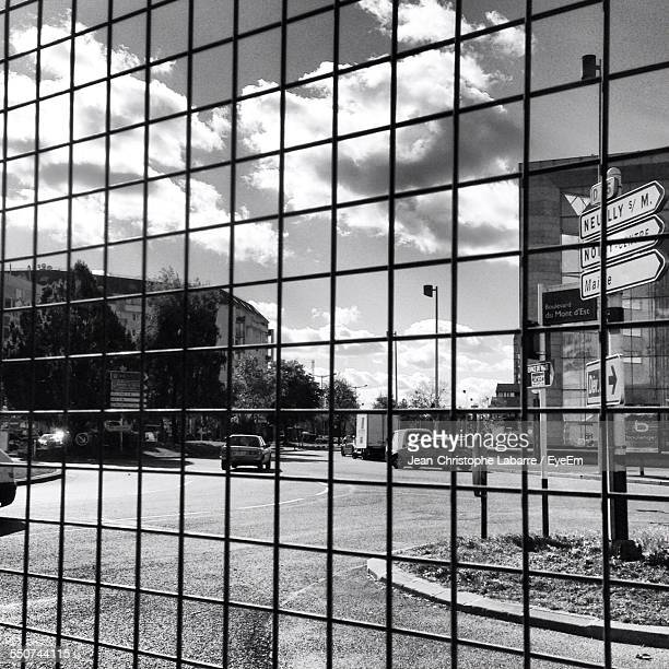 full frame shot of glass building with reflection - noisy le grand stock photos and pictures