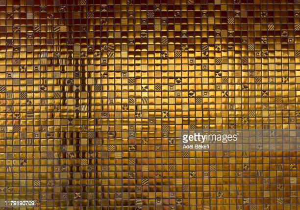 full frame shot of gold mosaic wall - roof tile stock pictures, royalty-free photos & images