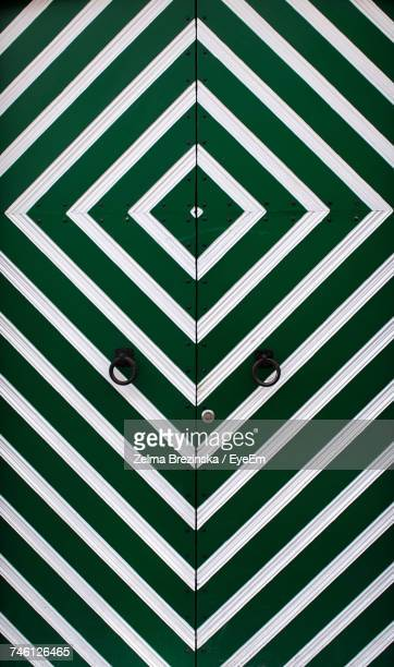 Full Frame Shot Of Green Striped Door