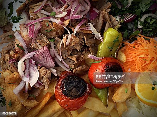 Full Frame Shot Of Gyros In Plate
