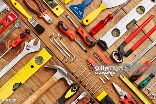 full frame shot of hand tools diagonally arranged on table - work tool stock pictures, royalty-free photos & images