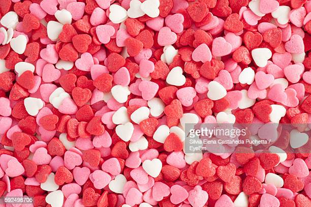 Full Frame Shot Of Heart Shape Sweets For Christmas