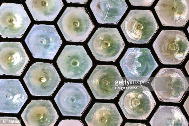 Full Frame Shot Of hexagon shaped Stained Glass