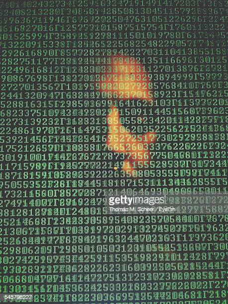 Full Frame Shot Of Human Face With Green Numbers